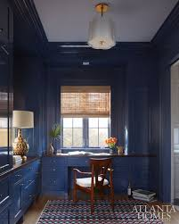 office space colors. deep blue lacquered home office by andrew howard space colors