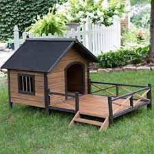 pawhunt 67 large wooden cabin style dog house with porch