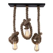 modern and antique metal 3 linear cer edison rustic rope chandelier lamp