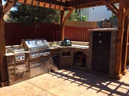 Large Outdoor Kitchen Cabinets With Wood Fired Smoker Green Egg And
