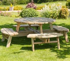 zest rose round picnic table