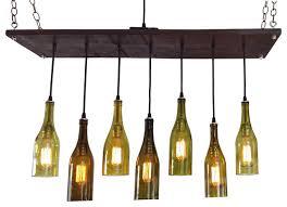 recycled wine bottle lighting midcentury chandelier with 7 wine bottle pendants