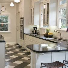 Perfect Black And White Tile Floor Kitchen K Throughout Simple Ideas