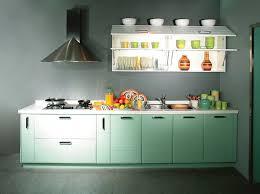 soft green small kitchen cabinets design