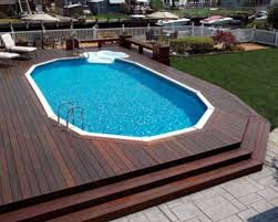 Wooden Pool Decks Pool Marvelous Image Of Backyard Design And Decoration Using Oval