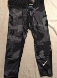 nike 3 4 tights. nike pro hypercool compression 3/4 tights 801252 010 lg black grey camo msrp $50 3 4