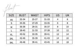 Size Chart Float Swimwear