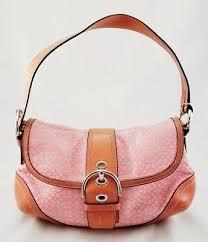 Authentic COACH Pink Medium Leather Canvas Monogram C Satchel Purse Handbag