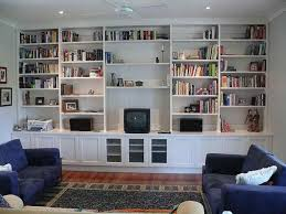 The Basic Of White Built In Bookcase: Symmetrical Modern Built In  Bookshelves Wonderfull