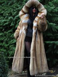 order luxury long fur coat from a red fox with a huge