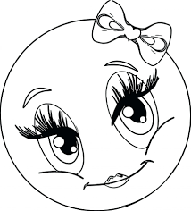 nice looking face coloring pages printable cute girl smiley faces page funny