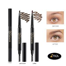 The Face Shop Designing Matte Eyebrow Pencil Eyebrow Pencil 2 Packs Niceface Waterproof Smudge Proof Automatic Eye Brow Makeup Kit With Eyebrow Brush Dark Brown Coffee Set 1