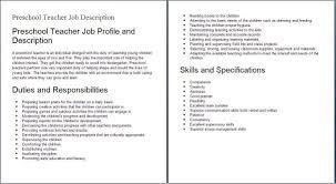 Job Description Kindergarten Teacher Revive210618 Com