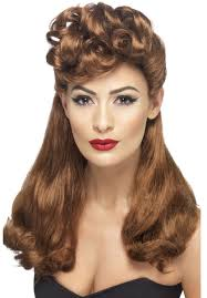 60s Hair Style 1940s vintage style wig ladies long auburn rockabilly wig 50s 8203 by wearticles.com