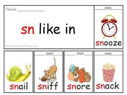 Sn Words Free Printable Phonics Flip Book Sn Sound