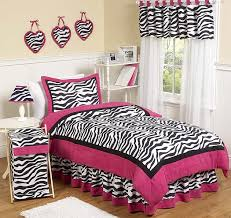 hot pink black white funky zebra childrens bedding 4 pc twin set