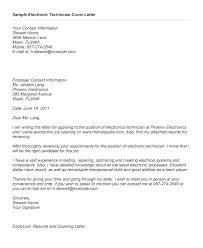 Cover Letter Samples For Resume Electronics Technician Cover Letter