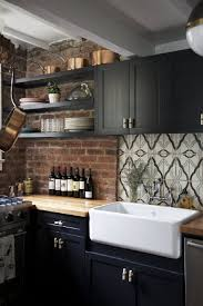 Black Kitchen Cabinets With Wood Countertop All White Kitchen