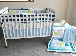 baby nursery bedding set embroidery ocean whale crib cotton quilt per blanket boy sports bed