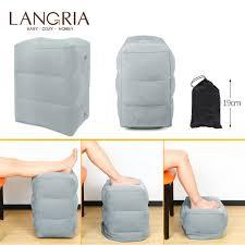 LANGRIA <b>Portable Travel Inflatable Foot</b> Leg Rest Pillow Cushion ...
