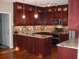 dark cherry wood kitchen cabinet