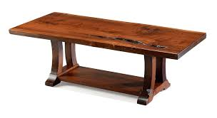 custom built amish crafted live edge coffee table with alexandria base in solid walnut wood