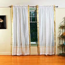 pair white india sari sheer curtain