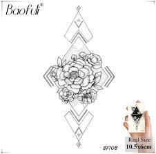 Geometric Triangle Roses Temporary Tattoo Flowers Waterproof Black Fake Tatoos Neck Back Hands Arms Legs Women Tattoo Stickers