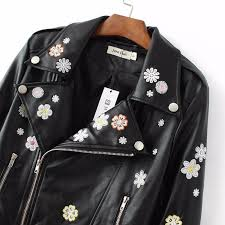 new fashion flowers embroidery collar black motorcycle faux leather jacket women slim long sleeve short pu
