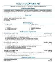 Sample Icu Rn Resume