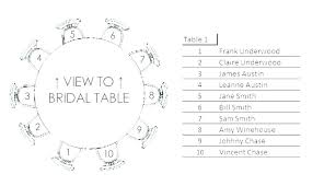 party seating chart template table size wedding per free round word