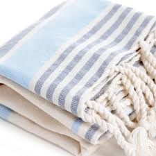 natura turkish hand pestemal with light blue and grey stripes on natural color 115 00 g 4 06 oz