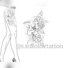 Sketch Floral тату бедро эскиз цветы Sketch тату цветы и идеи