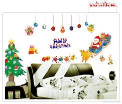 Christmas Wall Art Merry Christmas Santa Clause Xmas Tree Wall Art Decal Sticker For