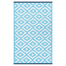 nirvana aqua sky white lightweight indoor outdoor reversible plastic rug