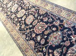 details about 2 7 x 11 9 navy blue brown tabriz persian oriental wool rug runner handmade