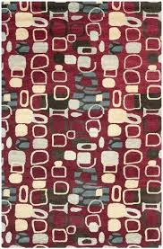 red multi 5x5 square rug outdoor