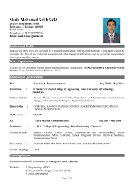 Resume Samples For Freshers Mechanical Engineers Free Download