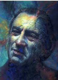 i took this old painting of robert de niro and re worked it not really sure what i was thinking but i did enjoy it none the less