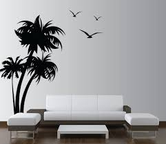 Modern Wall Murals Palm Coconut Tree Wall Decal With Seagull Birds 3 Trees 1132 7