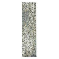 spiral medallion grey 2 ft x 7 ft runner rug