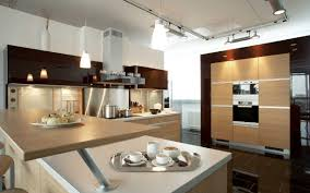 lighting idea. Simple Lighting Idea For Modern Kitchen With Contemporary Cabinets Model And Brown Countertop