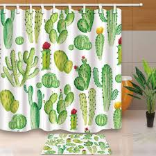 bpbop cartoon cactus and flowers polyester fabric shower curtain shower curtain 66x72 inches with floor doormat bath rugs 15 7x23 6 inches com