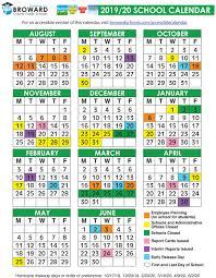 Broward County Public Schools Official 2019 2020 Calendar