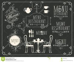 Menu Drawing Design Set Of Drawings On The Theme Of Restaurant Menu Stock Vector