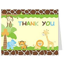 Thank You Cards Baby Shower Amazon Com Jungle Thank You Cards Baby Shower Birthday Boy