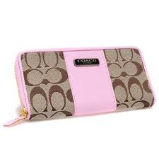Coach Logo In Signature Large Pink Wallets CHV
