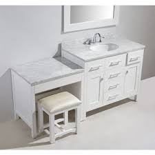 The elegantly arched surround integrates the dual vanities. Our Best Bathroom Furniture Deals Bathroom With Makeup Vanity Bathroom Vanity White Vanity Set
