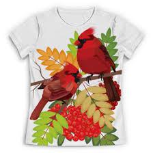 """<b>Футболка с полной</b> запечаткой (Женская) """"Красные птицы"""" - арт ..."""