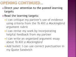 module a unit lesson writing and argument essay peer  6 opening continued
